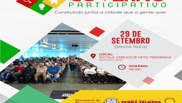 9beeb46521 Audiência Pública Governo Participativo acontece na próxima sexta-feira  (29)
